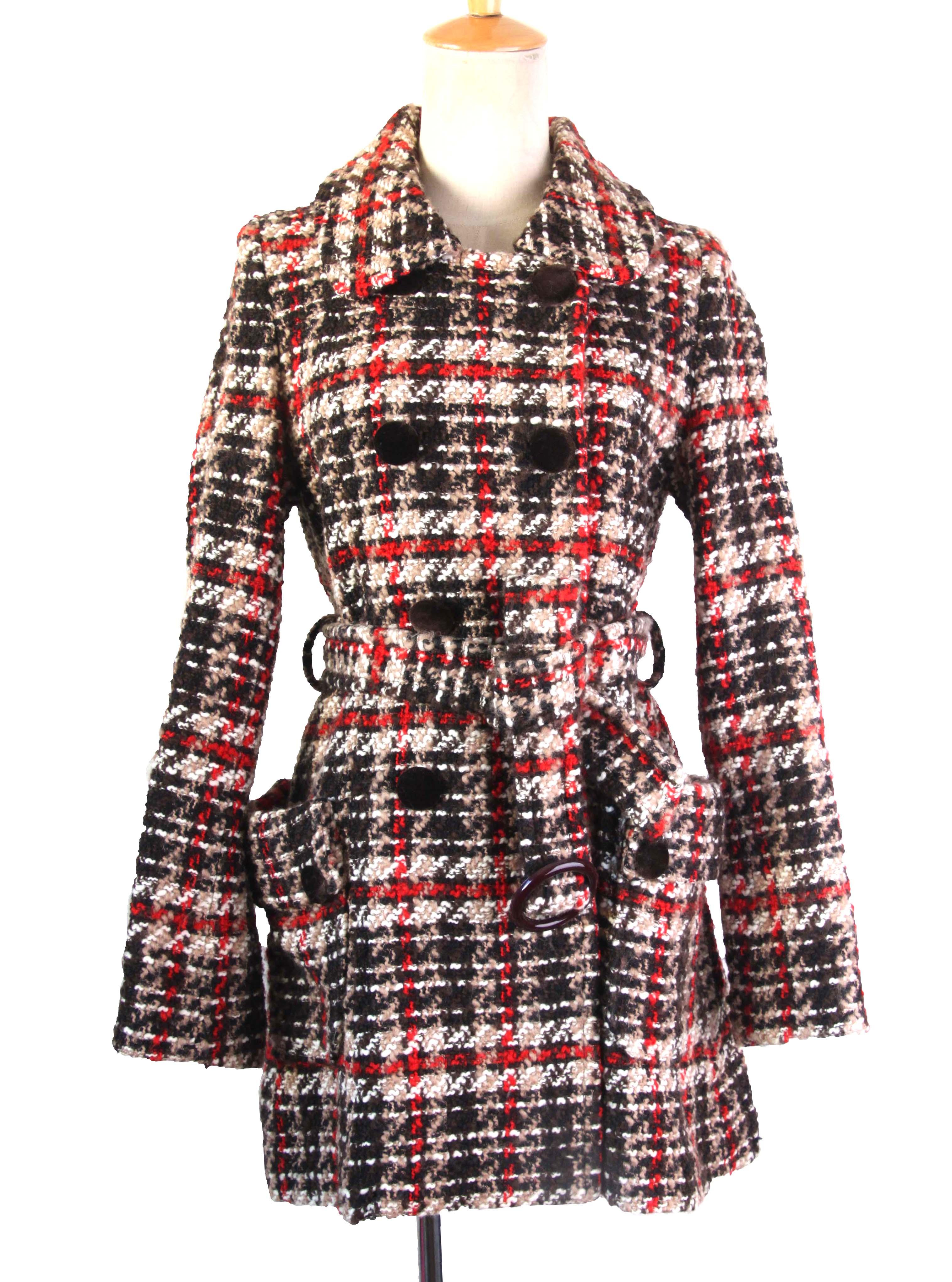 Vintage Antique fresh and slim tweed Plaid Wool mid long coat