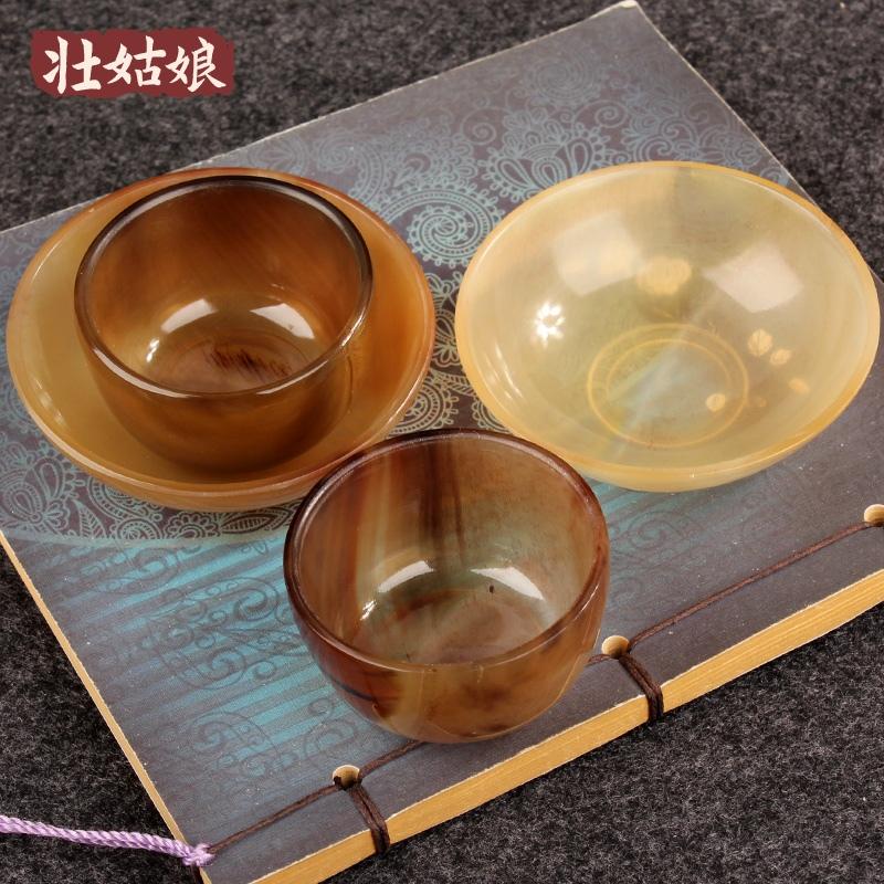 天然牛角牛蹄杯子創意功夫茶杯小碗碟子刮痧碗白酒藥酒杯文玩酒盅