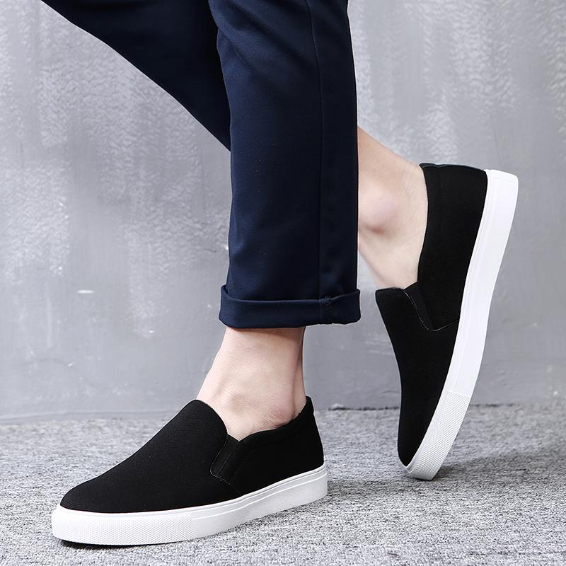 帆布鞋男一脚蹬懒人鞋