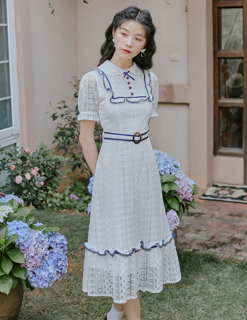 Actual photo 2020 summer watch out for vintage look slim Lolita lace bubble sleeve Baby Girl Dress + 40