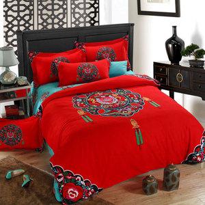 加厚全棉磨毛四件套床單被套床品套件純棉婚慶四件套床上用品