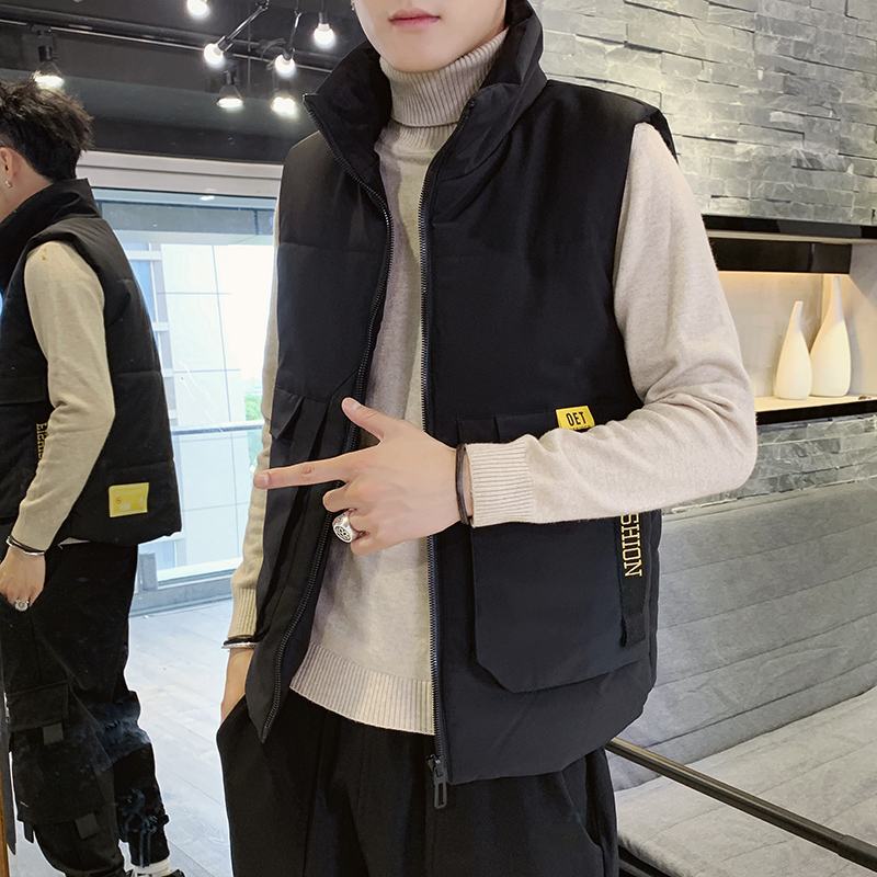 Fall and Winter Male Jacket Korean Edition Trend Shoulder Sleeveless Thickening Down Cotton Jacket Warm Men's vest Trend