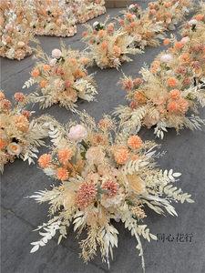 新款婚庆绢花路引花球婚礼道具摆件高端结婚装饰香槟色系浅粉色系