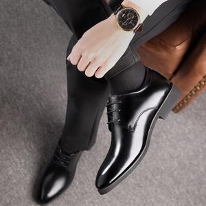 男士皮鞋男真皮夏季商务正装韩版黑色内增高男鞋休闲尖头大码鞋子
