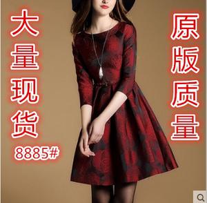 【高档女装】8885 秋季简约OL七分袖提花连衣裙修身百搭中腰A字裙