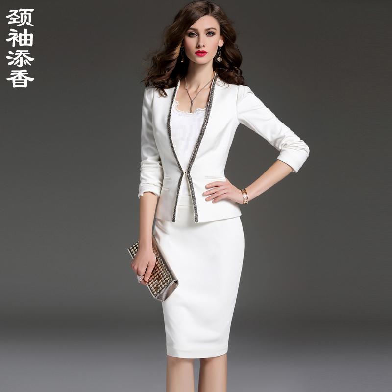 颈袖添香2018春秋装新款白色时尚职业装套装女装西服套裙商务正装