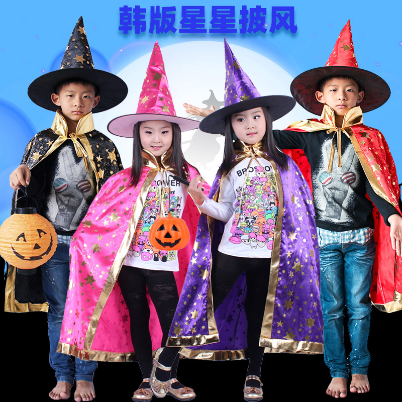 Chen Taos childrens costume magicians Cape cospaly boys and girls witches performance Costume Cape hat