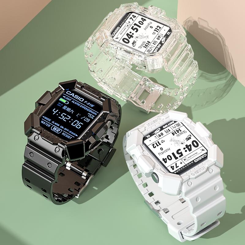 适用iwatch6苹果手表表带 applewatch5/6/SE代3/4/2创意表壳一体表带44mm/42/40/38装甲款男女运动非原装