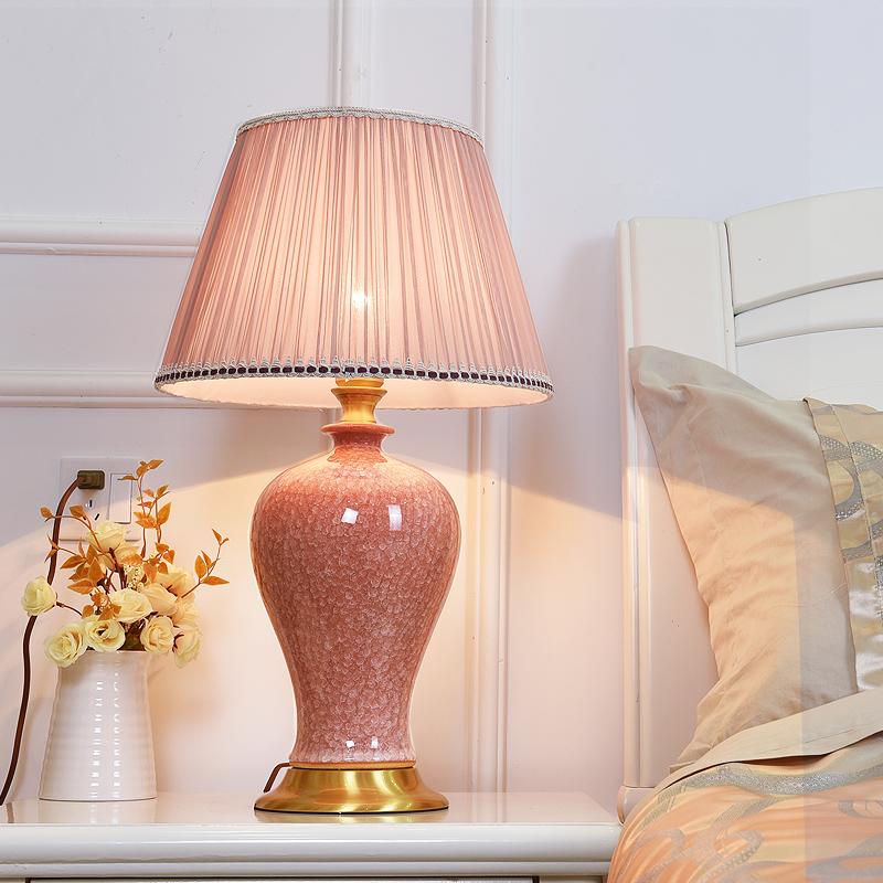 景德镇卧室床头灯美式结婚粉色台灯(非品牌)