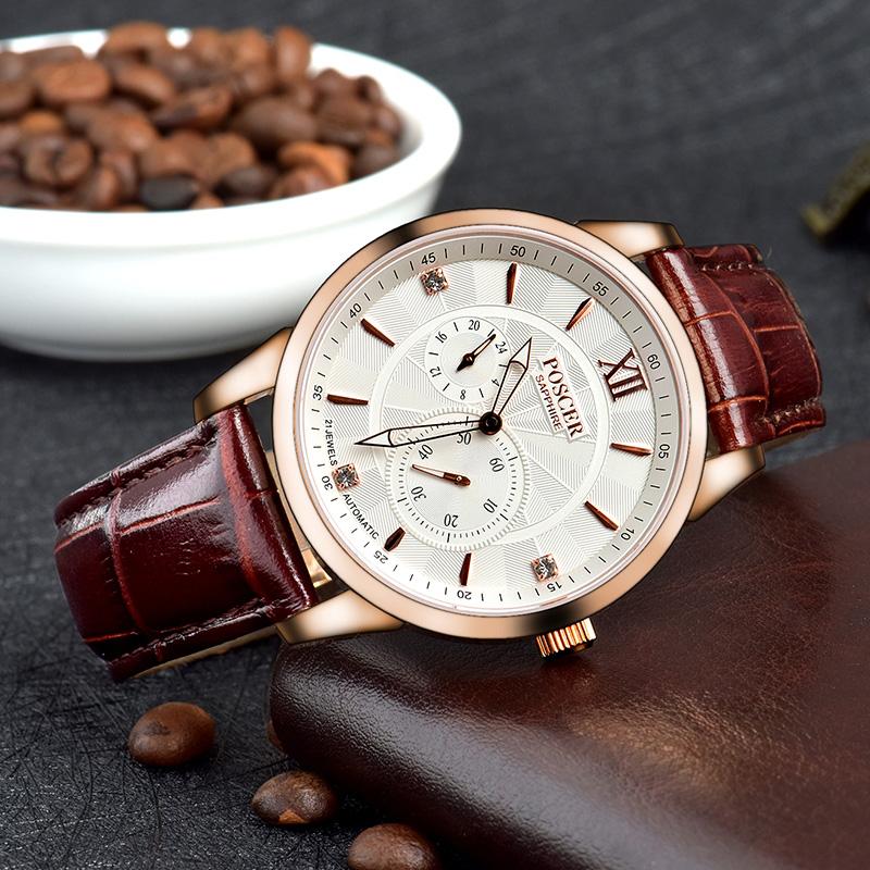 宝时捷男表机械表正品男士手表时尚商务男皮带腕表保时捷6034M