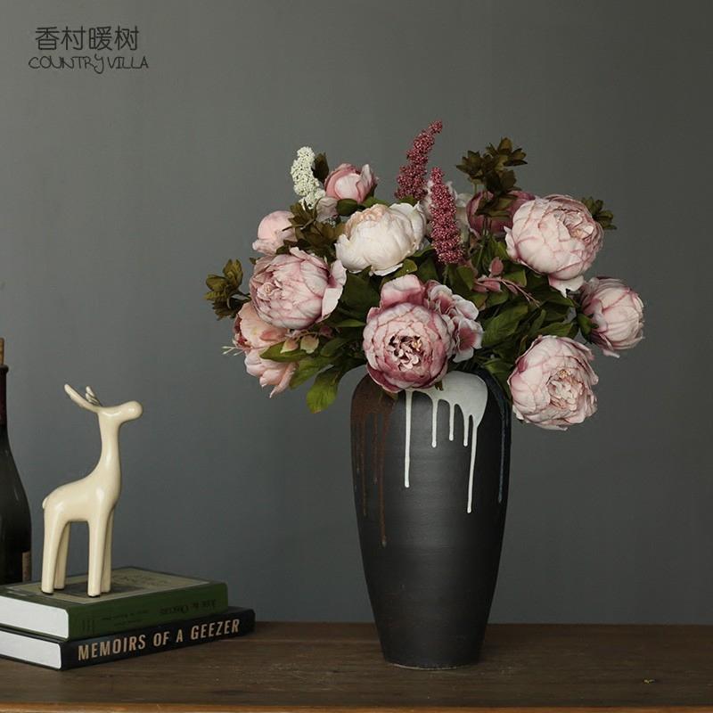 法式复古油画感客厅装饰花高档仿真花假花绢花 富贵大束包芯牡丹