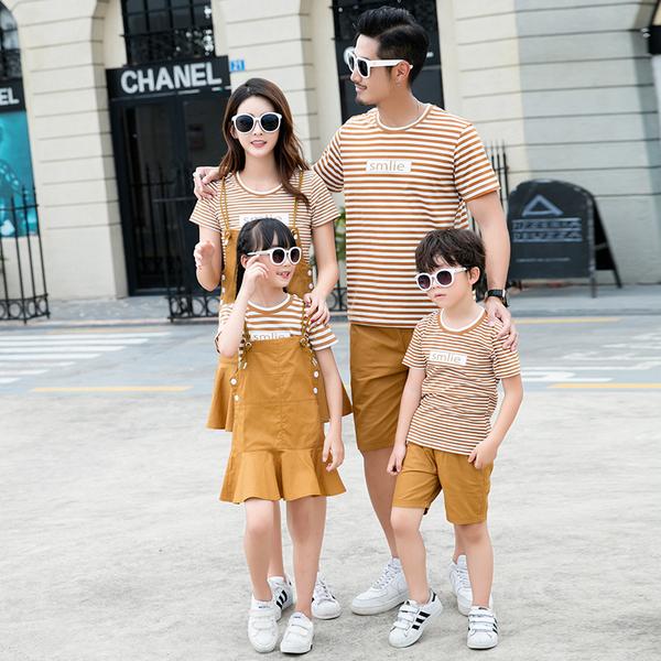 TS49543#亲子装夏装母女装套装新款潮一家四口父子装T恤全家装潮
