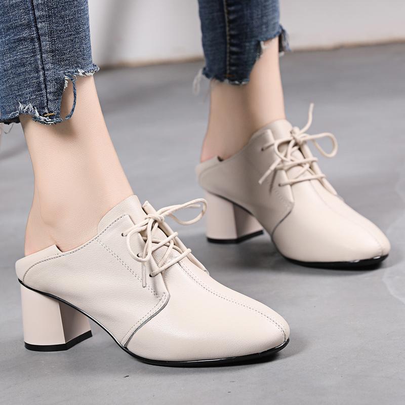 软皮软底一脚蹬单鞋英伦风系带小皮鞋百搭大码真皮女鞋中跟妈妈鞋