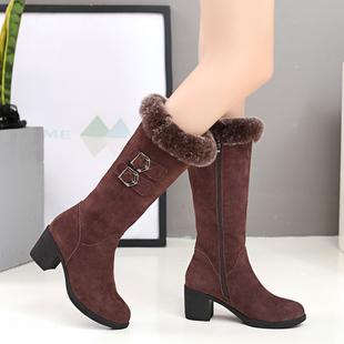 2021冬季新款兔毛女靴子不过膝加绒长筒马丁靴女粗跟真皮保暖棉靴