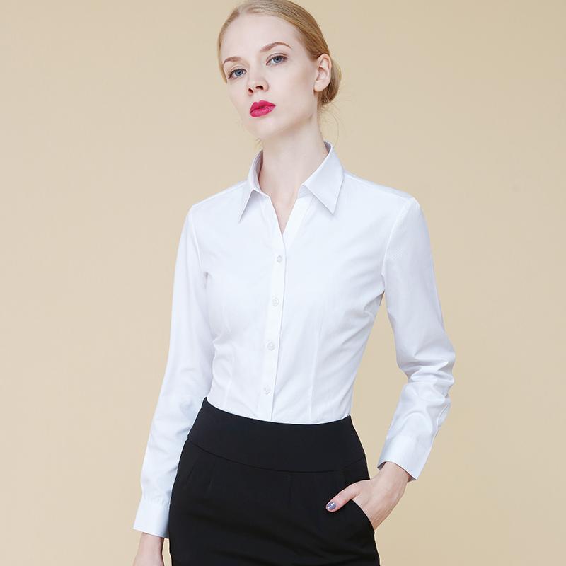 春と秋の白のワイシャツの女性の長袖の純色の下地の職業の仕事服の韓国版の修身する婦人服の正装の女性のシャツ