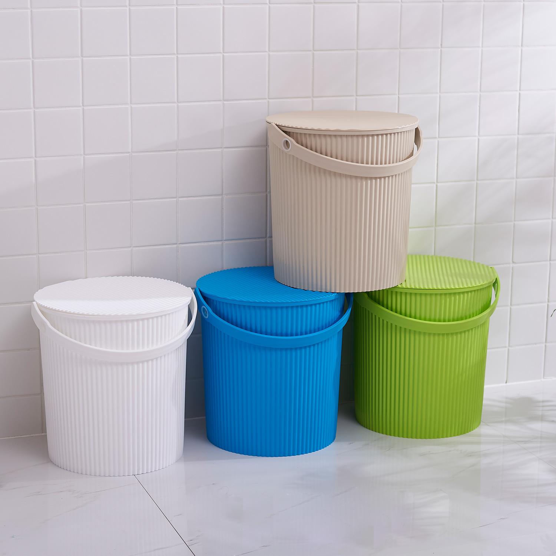 稻草屋/多功能条纹水桶 家用加厚大号塑料水桶 洗车桶钓鱼桶带盖