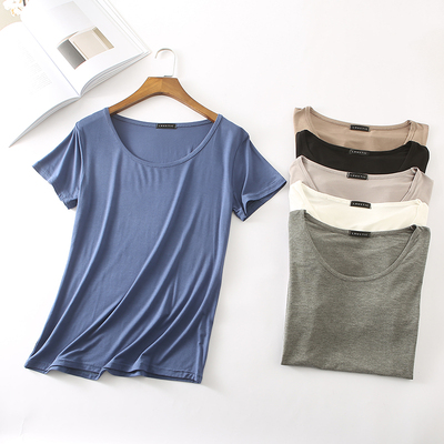 Modal Spring/Summer Korean Half Sleeve Round Neck Short Sleeve T-shirt Pure Color Simple Top Large Size Women's Loose Base Shirt