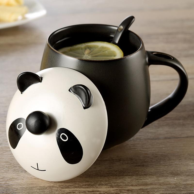 馬克杯陶瓷杯帶蓋勺可愛卡通杯子水杯茶杯咖啡杯情侶杯包郵