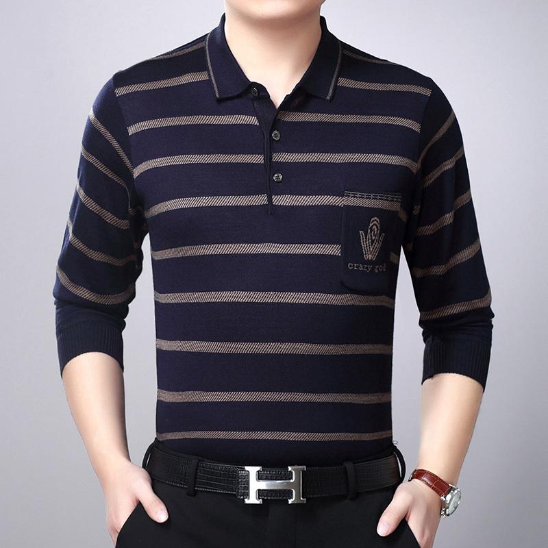 爸爸长袖t恤中年男士秋装40-50岁春秋衣服男人上衣打底衫中老年装