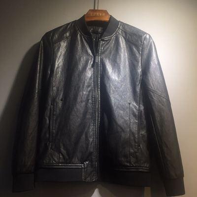 新款春秋装男士罗纹立领韩版修身水洗皮pu皮衣休闲大码皮夹克外套