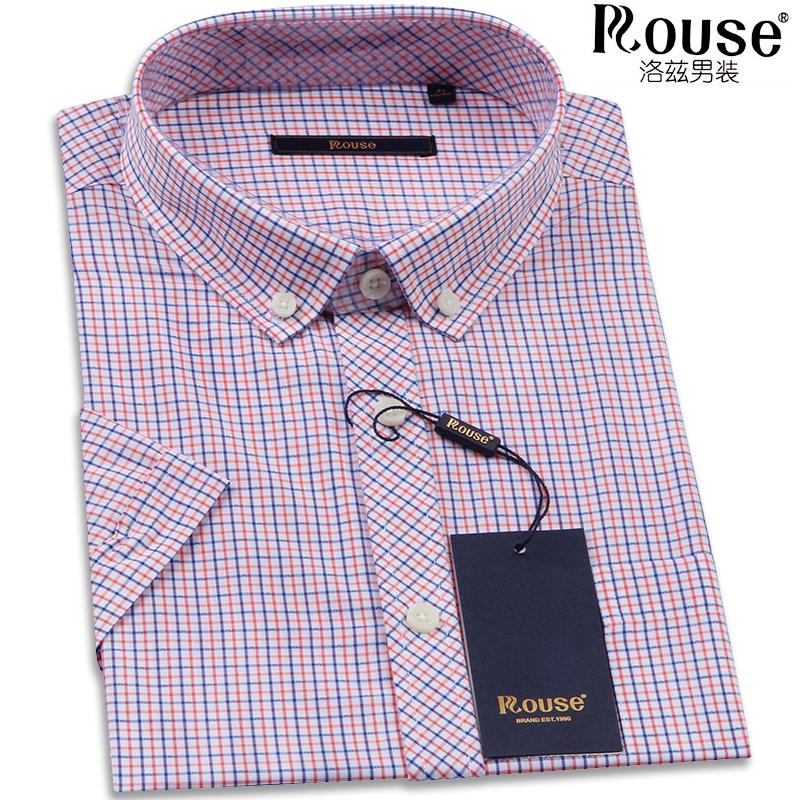 洛兹短袖新款衬衫夏季商务休闲小格子衬衣男爸爸装竹纤维半袖寸衫
