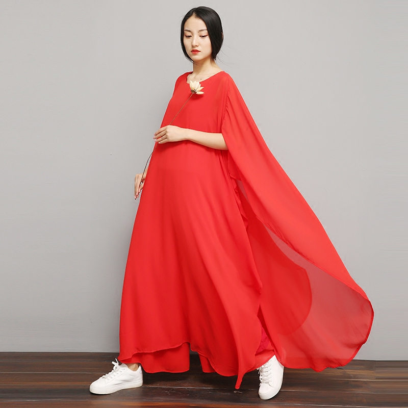 Begonia Chinese Retro Zen Woman Chinese Style Wild Zen Tea Clothes Zen Dance Costume Two-Piece Set