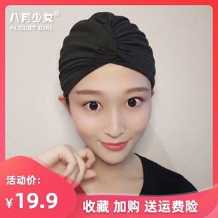 泳帽女长发专用不勒头可爱韩国日系显脸小大头围黑色成人潮款布料图片