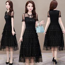 黑色网纱裙气质显瘦紫色超仙春秋纯色仙女连衣裙纱裙长款赫本风夏