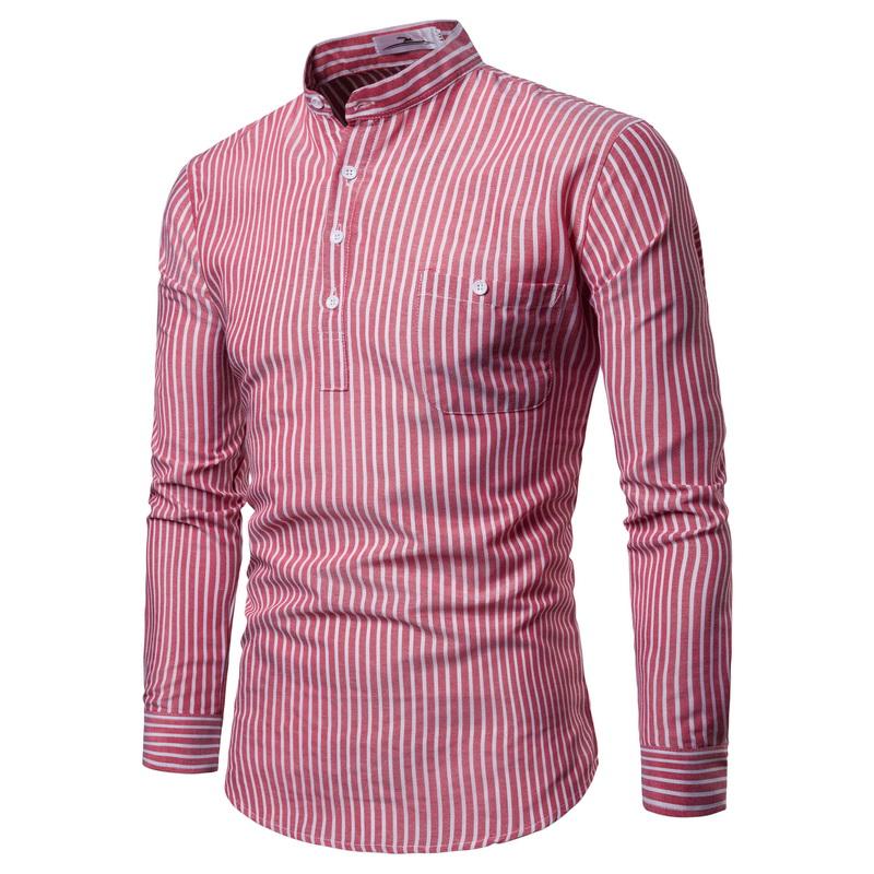 2018秋季新款男士立领长袖套头条纹衬衫1316/CS47/P30