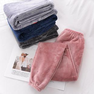 加厚法兰绒睡裤女秋冬季保暖大码宽松长裤男士珊瑚绒家居裤暖暖裤