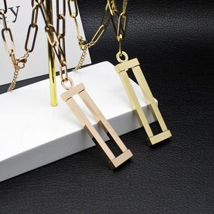 韓國東大門方形長條鈦鋼不掉色長款毛衣鏈女誇張網紅潮裝飾品吊墜