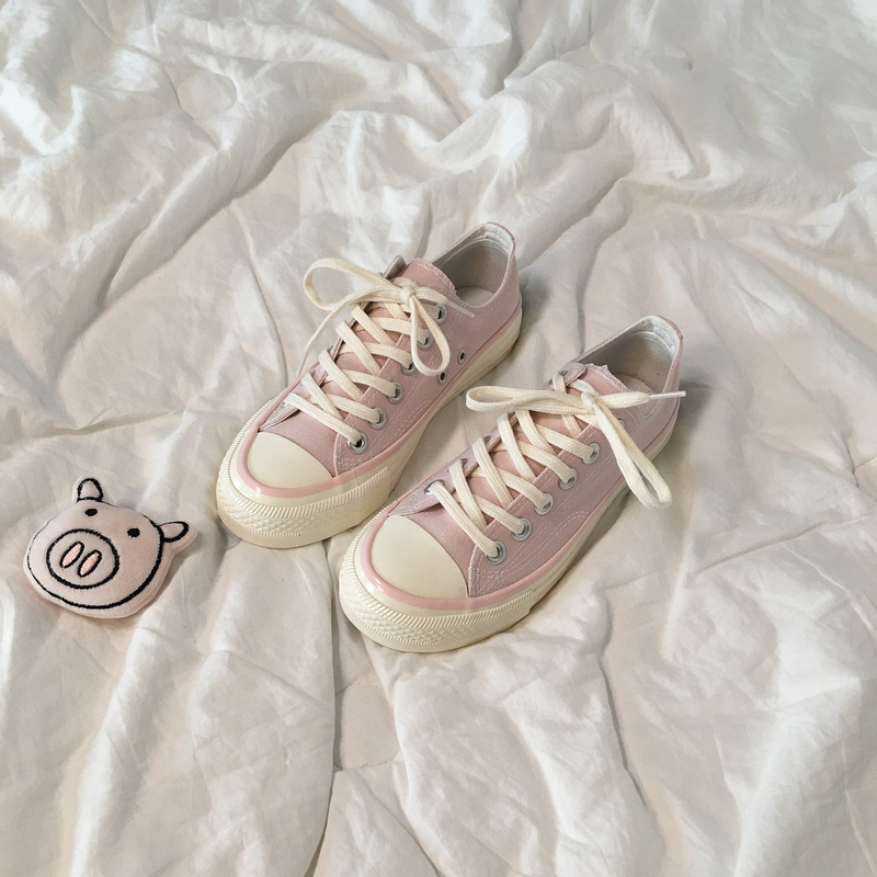 Girls heart shoes students Korean version of ulzzang Harajuku wind canvas shoes womens Pink versatile chic soft girl board shoes