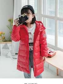 儿童羽绒服女童中长款男童亮面皮童装女孩品牌冬装新款外套免洗潮