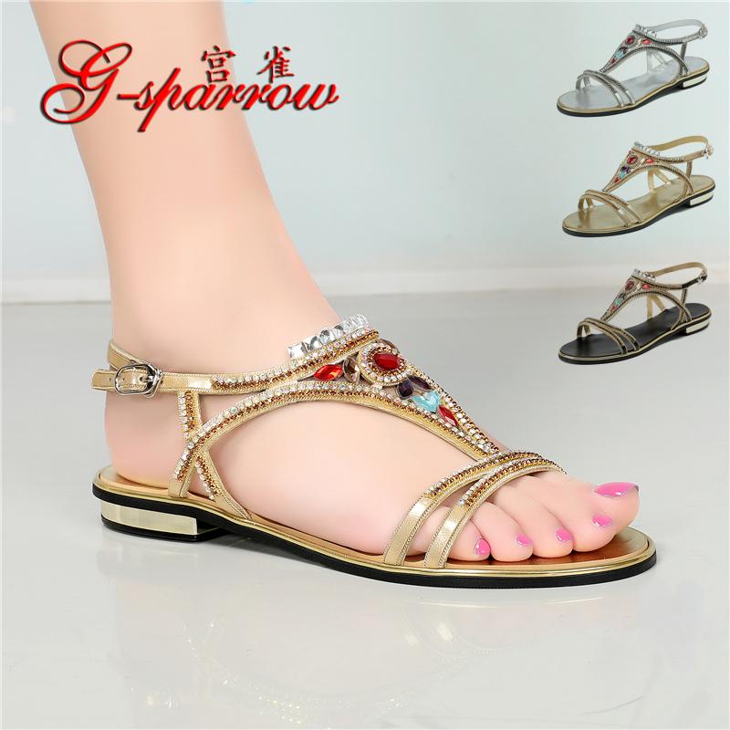Chaopai 2020 summer new womens shoes versatile Rhinestone flat bottom low heel belt drill shoes leisure fairy ROMAN SANDALS