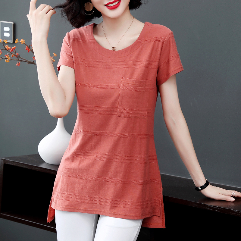 2021 new summer large size women's ladies long section top thin section loose cotton short-sleeved T-shirt female summer