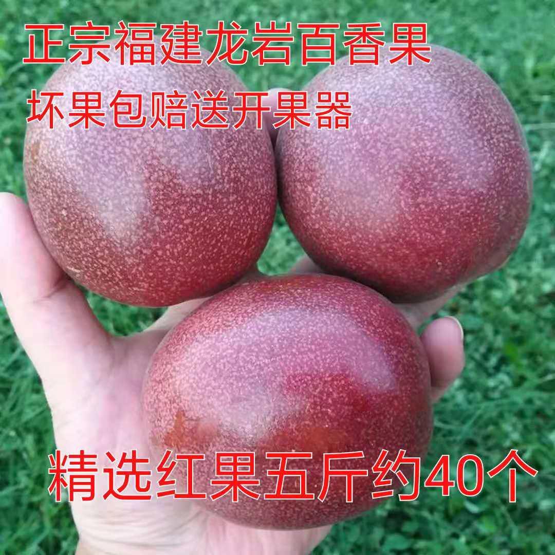 正宗福建龙岩新鲜百香果精选红果5斤包邮 比广西百香果更香醇33.00元包邮