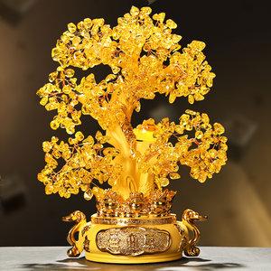 水晶招财发财树摇钱树开业礼品摆件创意客厅酒柜家居装饰品工艺品