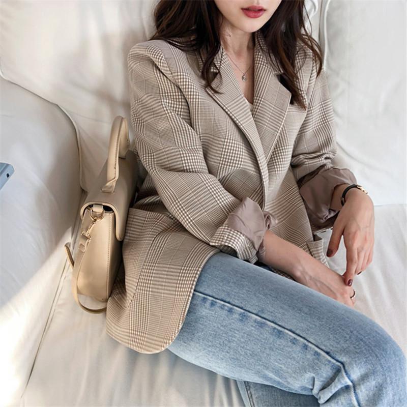 Spring and autumn new relaxed Korean version thousand bird lattice casual versatile Plaid small suit fashion retro Plaid suit coat for women