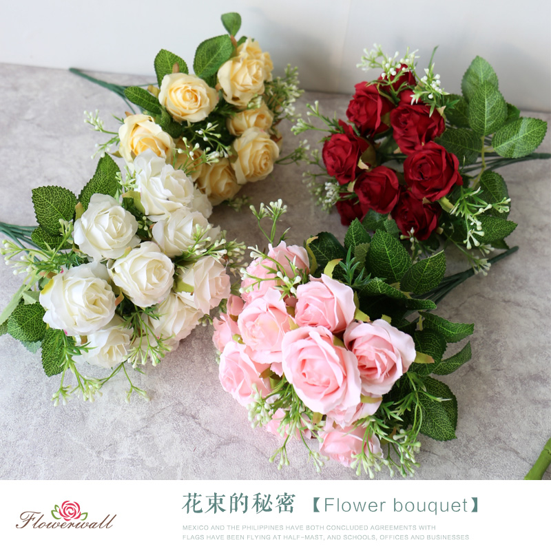 头把束玫瑰仿真玫瑰假花束绢花艺墙装饰花朵客厅装饰婚庆道具12