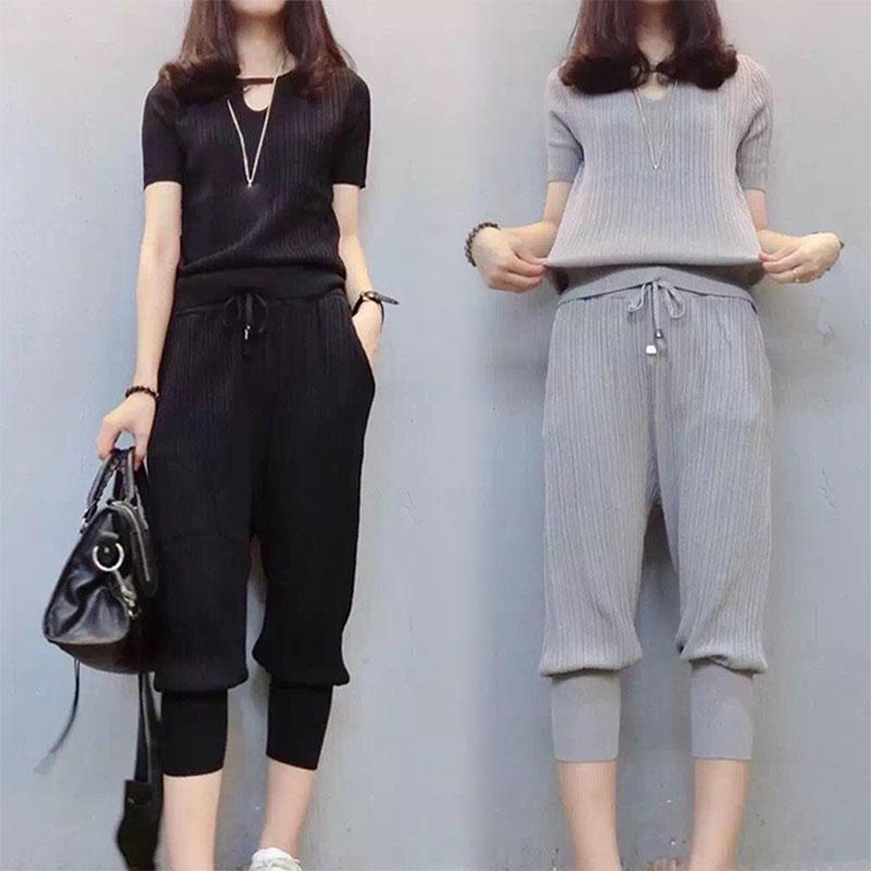 2018春装特大码女装200斤胖mm夏装短袖T恤哈伦裤两件套显瘦套装潮