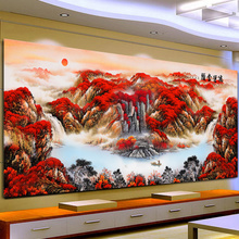 Diamond Painting 2019 New Diamond Drilling Living Room Hongyun Head Scenic Landscape Point Drilling Brick Embroidery Household Cross Embroidery