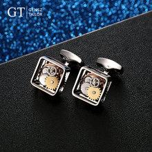 GT绅诚 机械陀飞轮袖扣手表机芯袖扣法式衬衫袖钉轻奢复古袖口