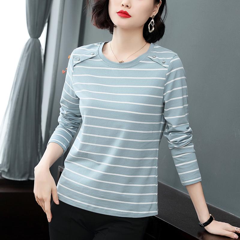 纯棉打底衫长袖T恤女宽松春秋30-40岁中年妈妈装条纹上衣全棉小衫