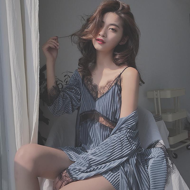 丝之莎睡衣女夏春秋性感吊带睡裙两件套镂空蕾丝睡袍舒适家居服女
