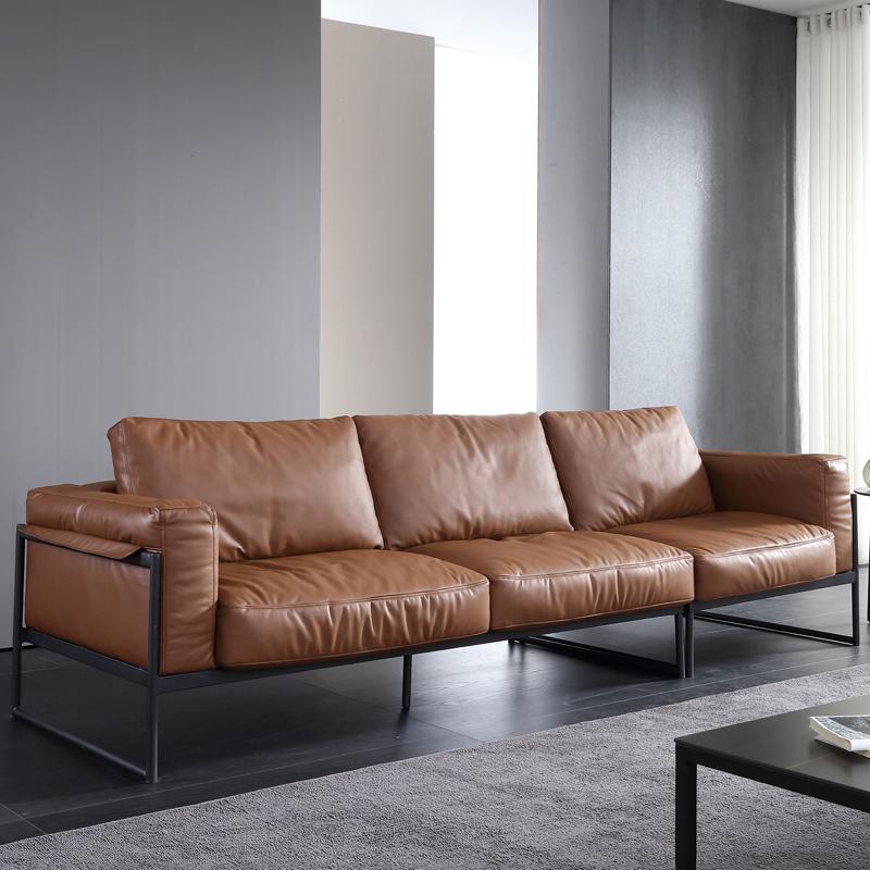 意式轻奢铁艺沙发 小户型双人三人四人极简轻奢ins风真皮羽绒沙发
