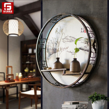 Home Zen Decoration Iron Wall Hanging Chinese Living Room Entrance Wall Hanging Decoration Restaurant Wall Creative Shelf