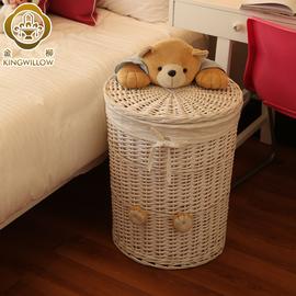 藤编脏衣篮玩具收纳箱家用脏衣服篓放衣服的收纳筐编织带盖子大号