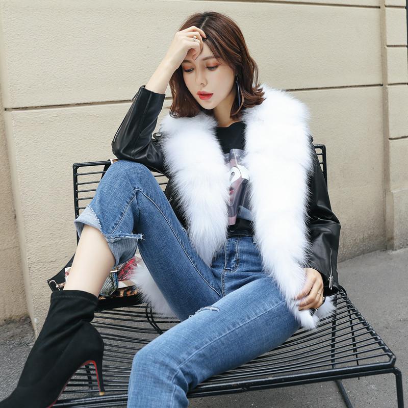 Ns новый кожаный кожаный женский синглет slp мотоцикл короткий параграф два носить лисицы меховой жилет меховой куртки женщин