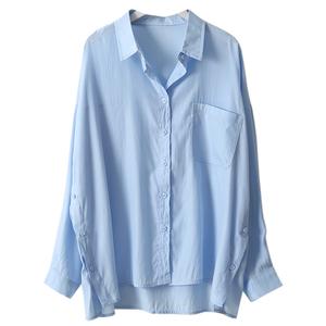 bf风港味单口袋蓝色2021春夏衬衫
