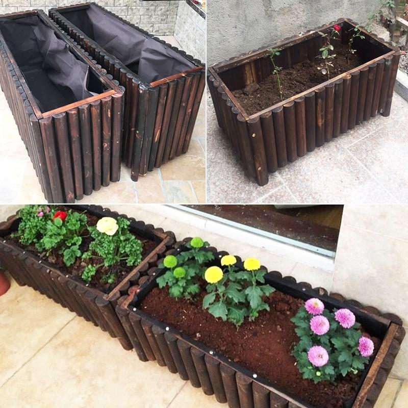 防腐木花箱长方形实木花盆户外庭院家用室内阳台特大花槽种菜神器